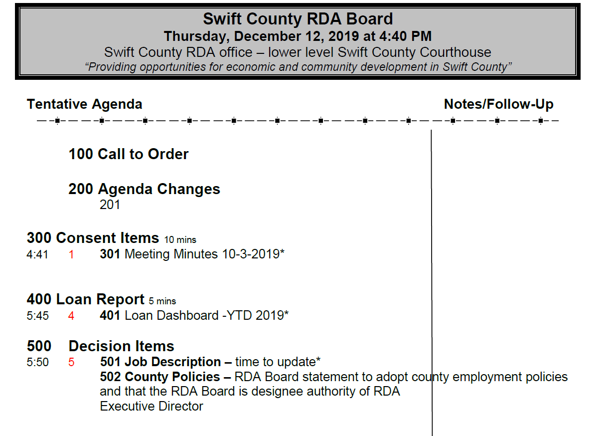 Thumbnail Image For RDA Board Packet - 12/12/2019 - Click Here To See