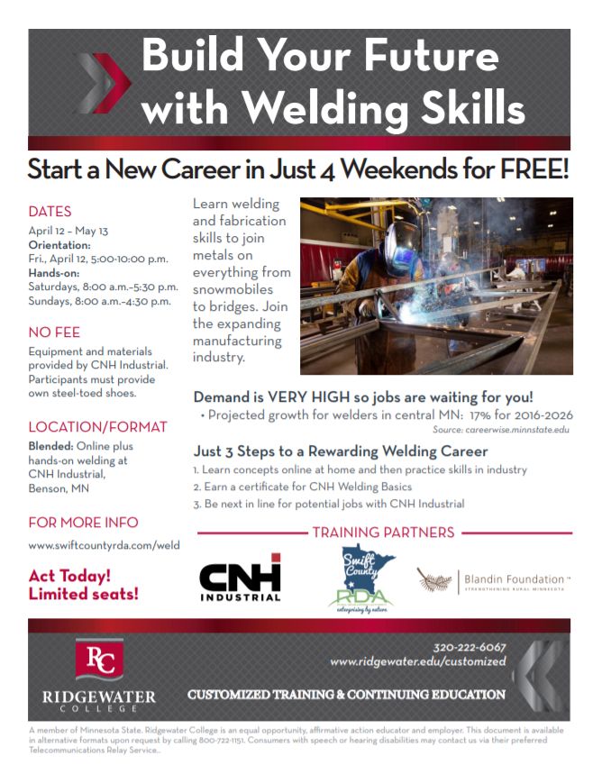 Limited time to apply for FREE CNHi Weld Training as part of the Swift County BBC Program